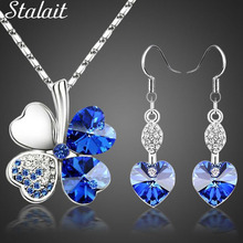 2016 Hot sale lucky Silver Plated clovers necklace Austrian crystal necklace earring jewelry set free shipping 9554 2018 hot sale austrian crystal necklace earring sets wedding jewelry for women party accessorie pendientes juego de collar n064