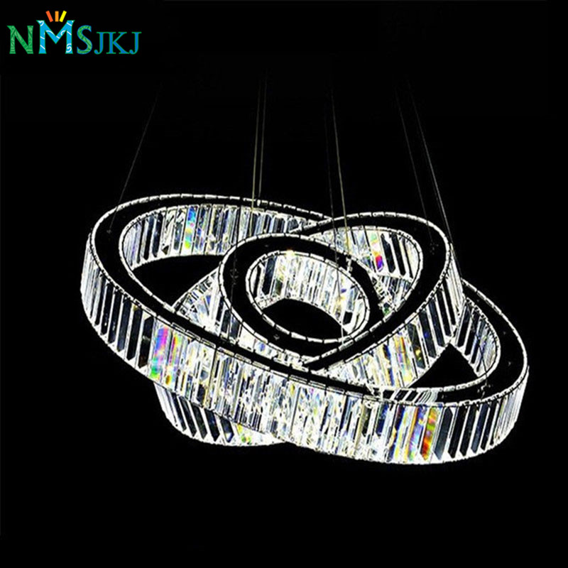 Hot Sale LED K9 Luxury Crystal Ring Pendant Light for Dining Room Lamp Lustres De Cristal Suspension Modern LED Light Fixture modern led crystal pendant lamp dandelion chandelier light fixture for dining room bedroom lustres de cristal ac110v 240v