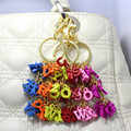 2016  24 letters Carefully Carved Cute Letter String KeyChain Golden Unique Bag Chain Charming Keychains KeyRing Wood ChainRing