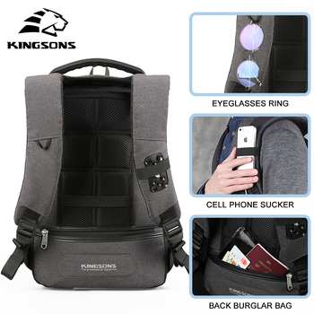 Kingsons Men's Backpack Fashion Multifunction USB Charging  5