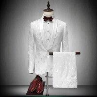 2017 לבן חליפות טרייל Masculino Ternos Mens הדפסת Slim Fit חתן עישון חתונה ארוחת ערב חליפות באיכות גבוהה