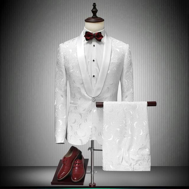 2017 Ternos Brancos Dos Homens de Impressão Blazers Masculino Ternos de Casamento Slim Fit Noivo Smoking Jantar Vestido Formal Ternos de Alta Qualidade
