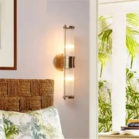 Wall Lamps Led Bathroom Light Copper Finish Glass Lampshade bathroom led mirror light up and down Gold Fitting wall scones