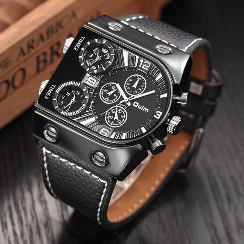 Prix pour Oulm Hommes Montres Hommes Quartz Casual Bracelet En Cuir Montre-Bracelet de Sport Homme Multi-fuseau horaire Militaire Mâle Montre Horloge relogios
