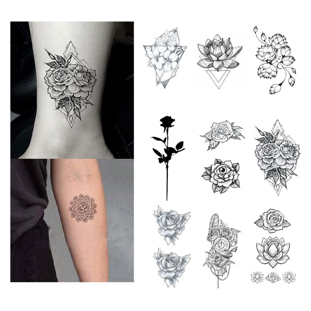 Us 079 Rose Tattoo Sticker Waterproof Temporary Fake Tatoo Flowers Lotus Hand Arm Shoulder Girls Women Teens Body Art Tools 105x6cm In Temporary