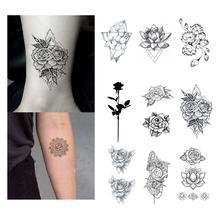 Rose Tattoo Sticker Waterproof Temporary Fake Tatoo Flowers Lotus Hand Arm Shoulder Girls Women Teens Body Art Tools 10.5X6cm отвертка felo ergonic плоская шлицевая 5 5x1 0x150 40055510