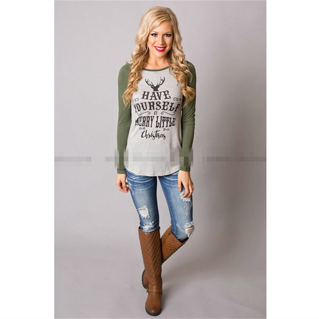 belva maternity shirts women autumn cotton elk head christmas stamp long sleeve t shirt clothes - Maternity Christmas Shirt