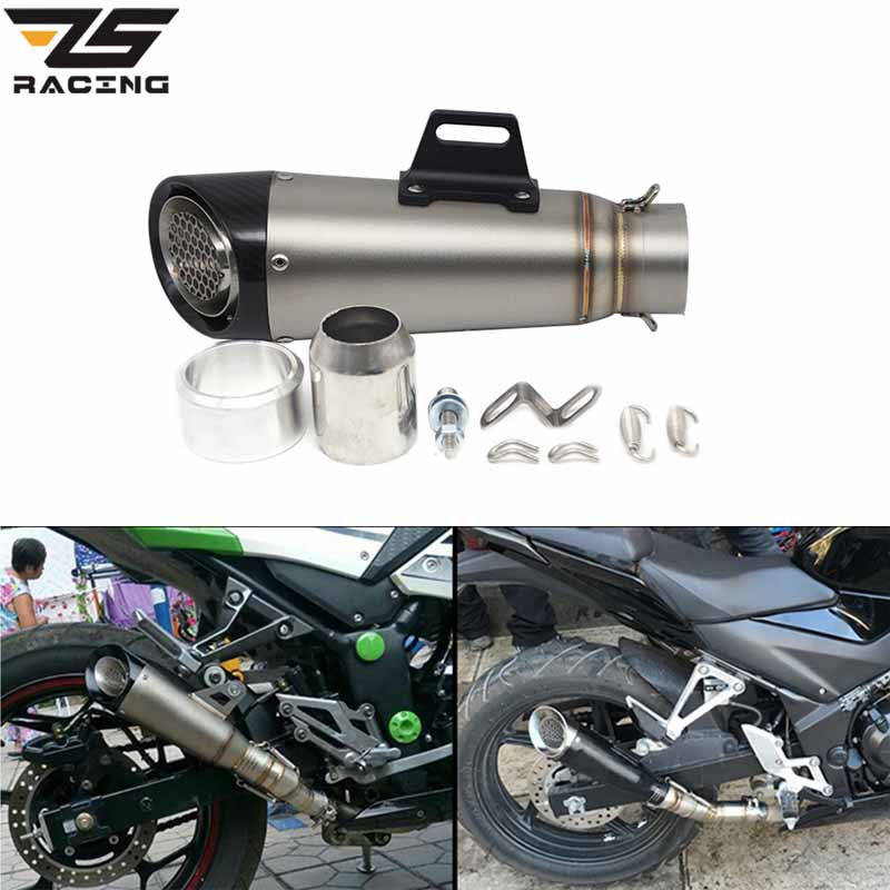 ZS Racing Universal 60mm Acier inoxydable Moto Dirt Bike SC Exhaust Silencieux Pipe Slip on For Yamaha Street Dirt Bike ATV Quad alconstar motorcycle akrappovic muffler exhaust pipe sc escape moto for motorbike dirt bike street bike scooter atv quad ninja