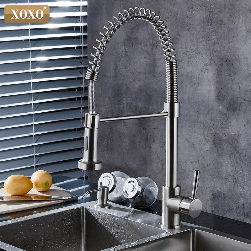 Xoxo torneira da cozinha pull out spray fria e quente misturadora guindaste polido único furo de poupança água 1343