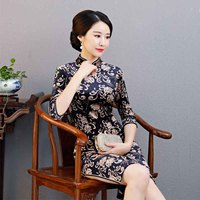 Hot Charming Chinese Women Qipao Dress Velvet Party Half Sleevele Classic Cheongsam Oriental Traditional Prom Bodycon Dresses