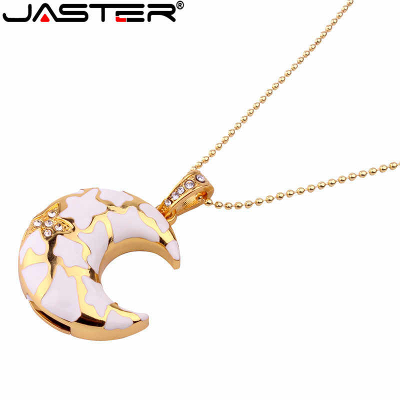 JASTER Crystal moon style USB Flash Drive metal diamond jewelry USB Flash Disk Gift Crystal Necklace Pendrive 8GB 16GB 32GB 64GB
