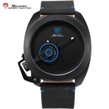 Tawny SHARK reloj deportivo azul movimiento de cuarzo banda de cuero diseño especial clásico de la corona masculino impermeable militar relojes de los hombres / SH448
