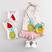Summer Lovely Baby Cartoon Fruits Printed Striped Vest +Lacework Shorts Children 2pcs Clothing Suit