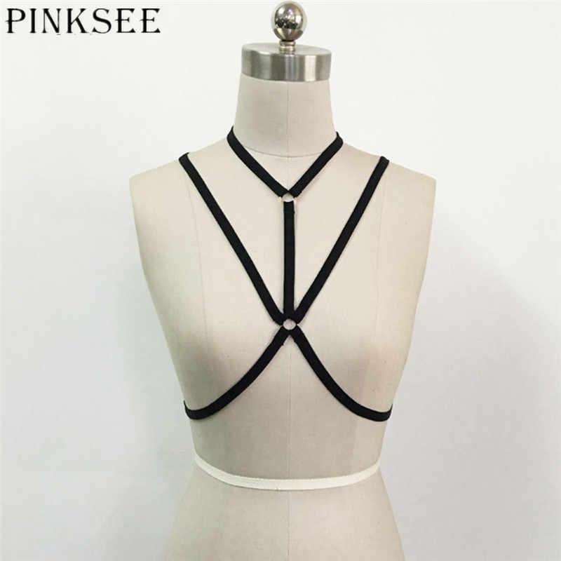 PINKSEE Sexy ropa mujer exótica arnés playa Bikini elástico cuerpo collar Bralette superior abierto sujetador jaula de correa vendaje