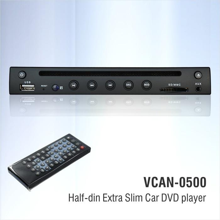 2016 hot sales 1 2 din DVD Extra Slim Car DVD player half din DVD player