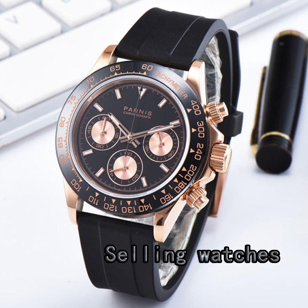 Montre pour hommes de luxe 39mm doré PARNIS chronographe complet verre saphir lumineux plaqué or Rose boîtier Quartz mouvement montre hommes - 2
