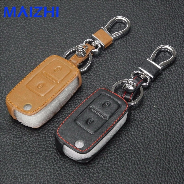 Jingyuqin 2 Buttons Flip Remote Key Case Cover Leather For Volkswagen VW Amarok Polo Golf MK4 Bora Jetta Altea Alhambra
