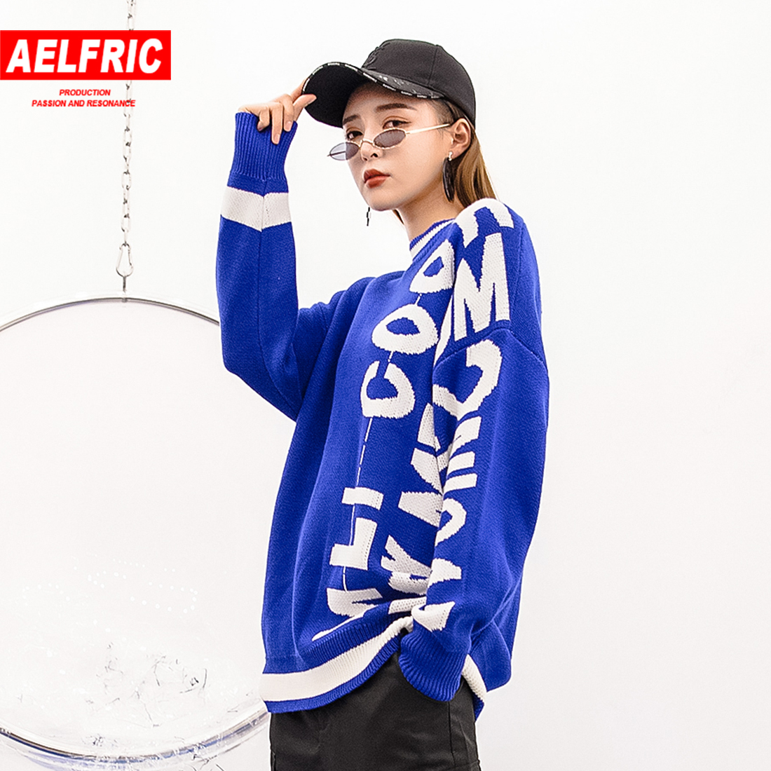 Sincere Aelfric Hip Hop O Neck Pullover Sweater Women Casual 2019 New Spring Loose Oversize Knitting Leteet Striped Embroidery Knitted Careful Calculation And Strict Budgeting