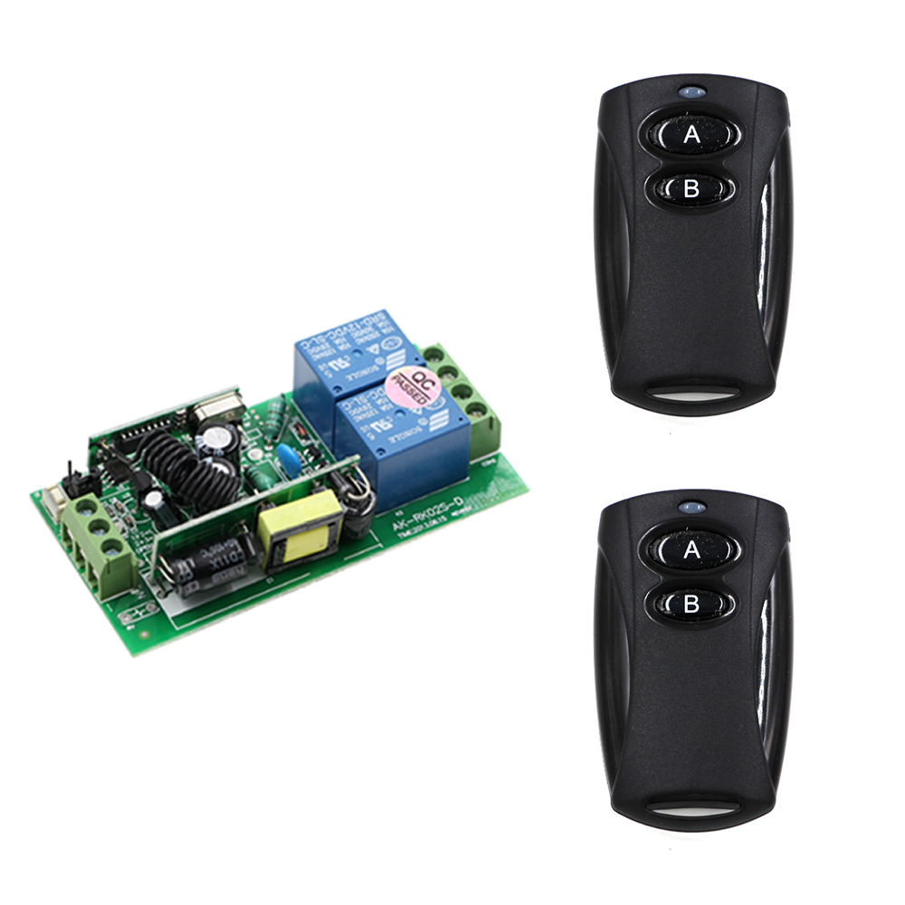 Smart Home AC85V-250V 10A Relay Receiver and Black Transmitters RF Wireless Remote Control Switch with Learning Code 315Mhz