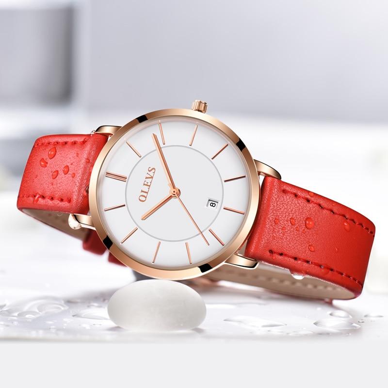 OLEVS sieviešu pulkstenis sarkans 2018 ikdienas ādas sieviešu pulksteņi luksusa kvarca sieviešu pulksteņi zīmola pulkstenis ultra plānas virsmas 6.5MM