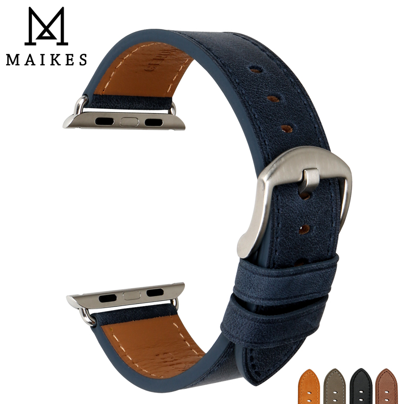 MAIKES Genuine Cow Leather Apple Watch Strap & Apple Watch Band 38mm 42mm Pin Buckle Watchbands iwatch Series 3 2 1 Bracelet цена