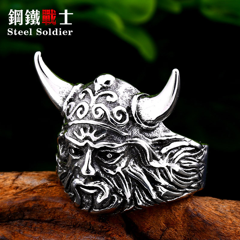 Steel soldier nordic head vking ring stainless steel gift ring in wedding bands Skandinavia jewelry image