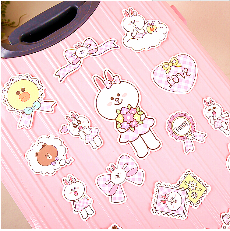 16pcs Creative Cute Self-made Can be rabbit pink box stickers / trolley case / computer notebook stickers 14pcs creative kawaii lovely cute self made victoria rabbit animal stickers trolley case computer notebook stickers luggage