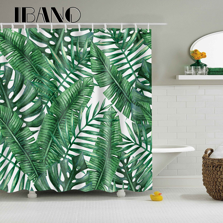 Fashional Design Banana Leaf Shower Curtain Waterproof
