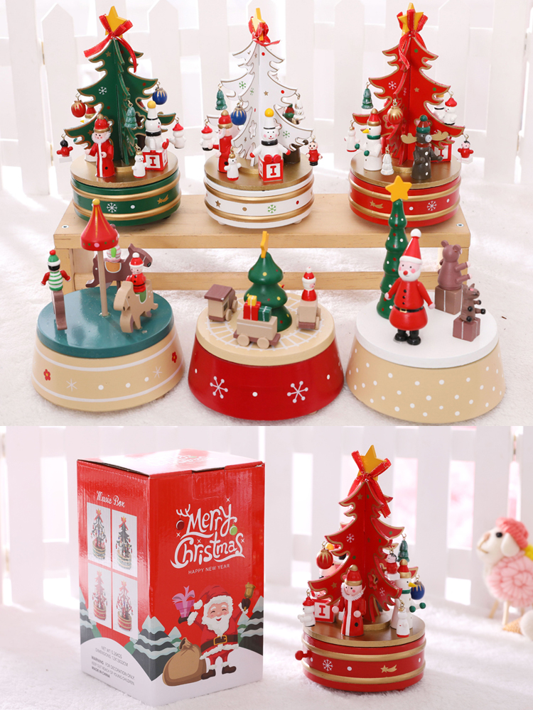 Wooden Nutcracker Christmas Tree Vintage Handcraft Home Decoration Christmas Gifts for Children Music Box Ornament 2018