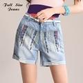 Dnim de verão Plus Size Cintura Alta Shorts Jeans Para As Mulheres Boemia Ripped Denim Shorts Curtos Mulher Perna Larga Azul Jean 7XL 6XL 4XL