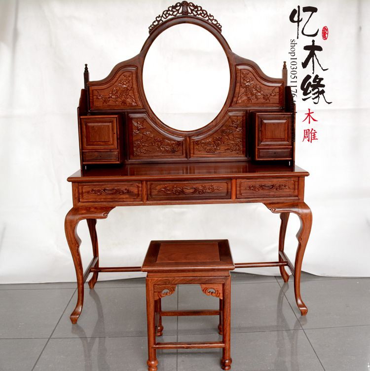 US $4500.0 |Mahogany furniture mahogany dresser African rosewood antique  dresser bedroom dresser classic dresser table stool-in Brackets from Home  ...