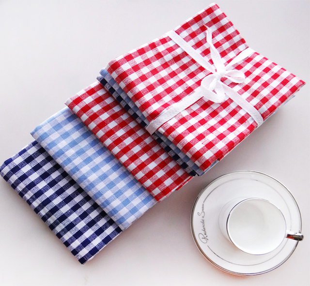 Attirant Blue Red White 3pcs Checkered Table Napkin Kitchen Towel Quality Cotton