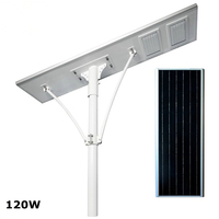 Rechargeable Auto Lighting Control Time Control 120W All In On Solar Street Lights Outdoor Highway Light