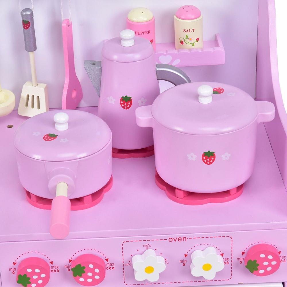 goplus kids wooden pretend play set kitchen cook toy pink st