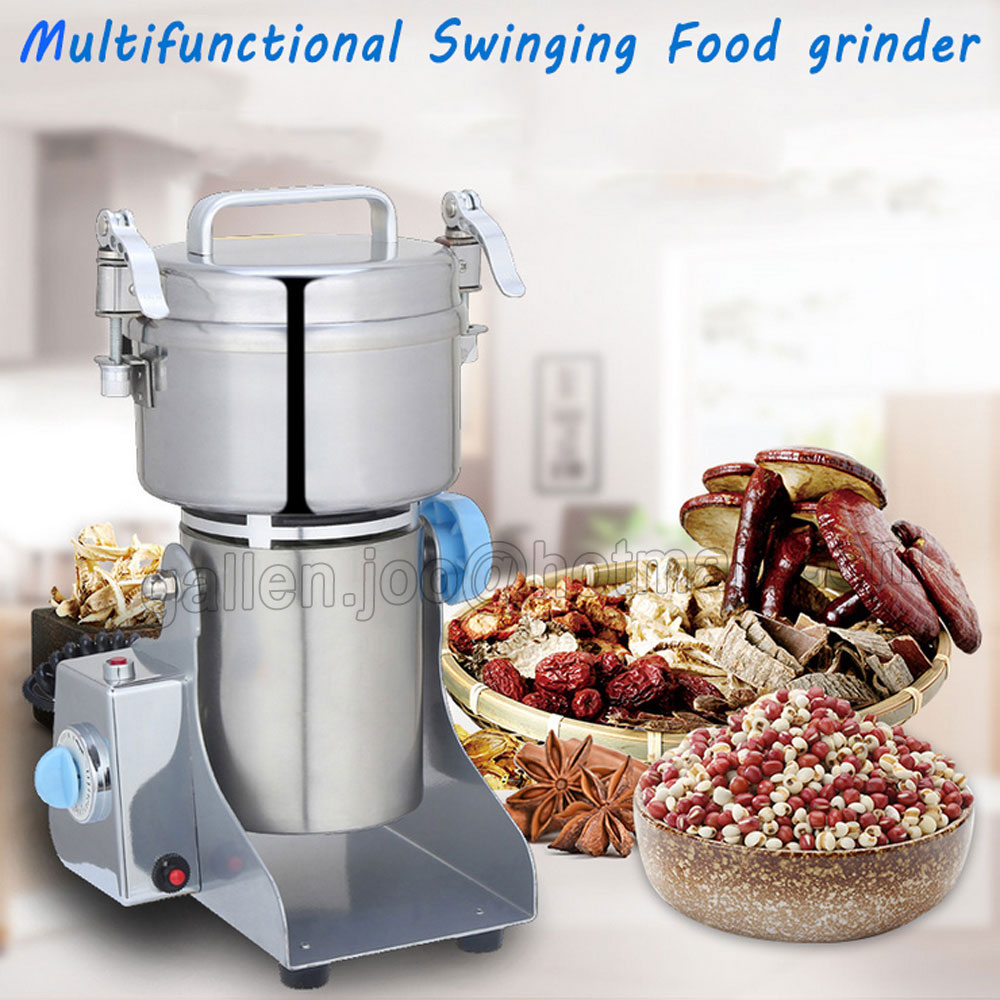 400 Grams Commercial Swing Type Stainless steel Food grinder Electric powder machine Milling machine, Grinding machinery high quality 2000g swing type stainless steel electric medicine grinder powder machine ultrafine grinding mill machine