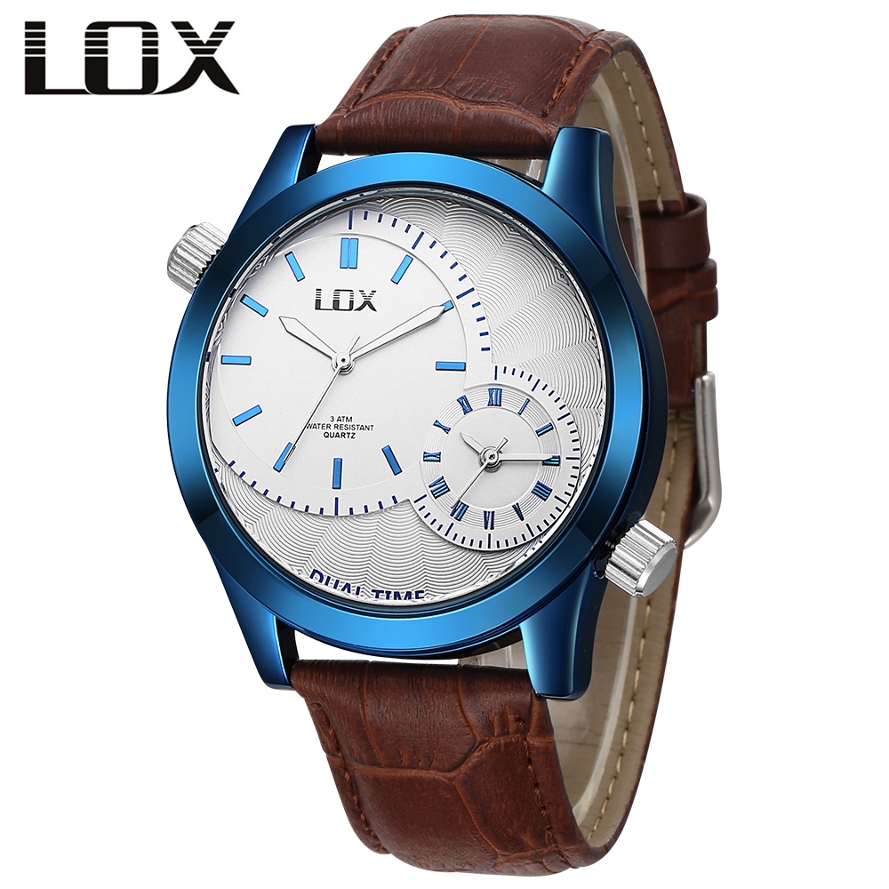 LOX Mens Fashion & Casual Watches Top Brand Luxury Double Time Zone Leather Strap Quartz Wristwatch Clock Men Relojes Hombre