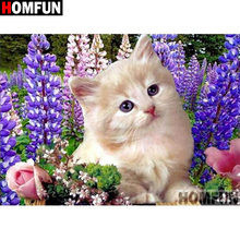 HOMFUN Full Square/Round Drill 5D DIY Diamond Painting Animal cat 3D Embroidery Cross Stitch Home Decor A21368