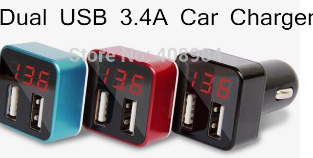 10 шт./лот 3.4a Портативный автомобиля Зарядное устройство Dual <font><b>USB</b></font> универсальный детектор короткого замыкания для мобильного телефона