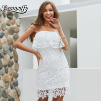 Benuynffy Elegant White Lace Strapless Dress Women Summer Casual Party Backless Zip Solid Tunic Mini Bodycon Dresses 2019