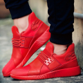 Breathable Casual Men Shoes Lace Up Canvas Flat Sport Soild Shoes Superstar Trainers Basket Femme Zapatillas Hombre Red High Top