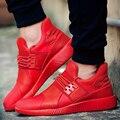 Hombres Ocasionales respirables Atan Para Arriba Los Zapatos de Lona Plana Deporte Soild Zapatos Entrenadores Superestrella Canasta Femme Zapatillas Hombre Rojo del Top del Alto