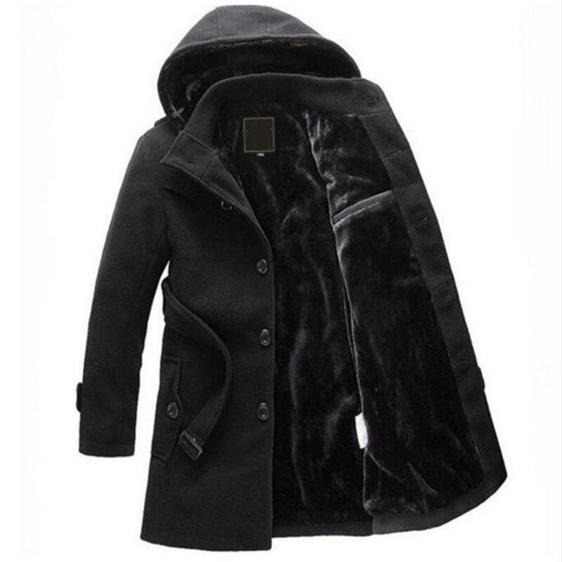 Homme automne couleur unie veste noir gris col rabattu Long manteaux hommes épaissir hiver chaud à capuche laine manteau Trench mélanges