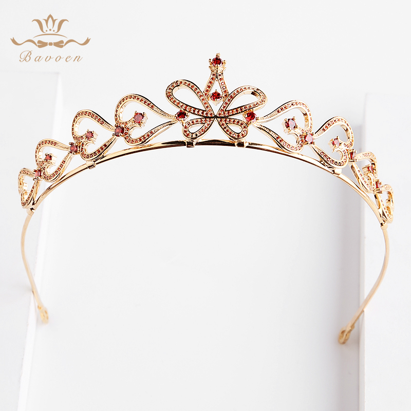 Bavoen High Quality Zircon Brides Tiaras Crowns with Red Crystal European Gold Hairbands Weding Hair Accessories