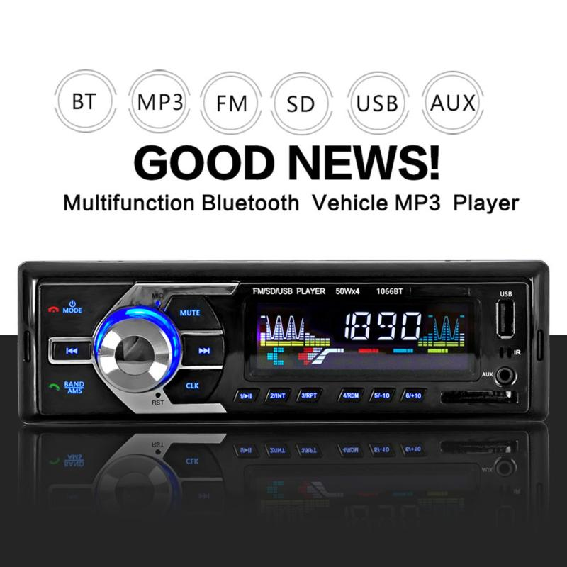 Car MP3 Player FM 1 Din Car Radio Player 12V Bluetooth Music Player Hands-free Call Auto Audio Stereo SD MP3 Player AUX USB New 1 din 12v digital bluetooth car radio audio stereo mp3 player 7 color light front detachable panel support sd fm aux usb