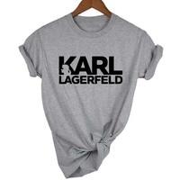 Карл Lagerfeld футболка для женщин унисекс Лето 2019 Vogue короткий рукав Забавные футболки для Harajuku tumblr Карл кто femme