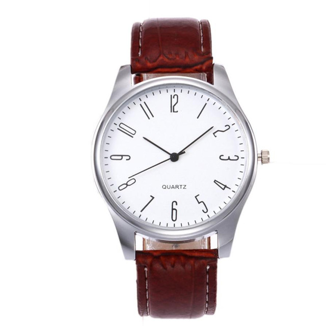 Timezone#502 Fashion Simple Mens Watch Business Fashion Leather Quartz Wrist Wat