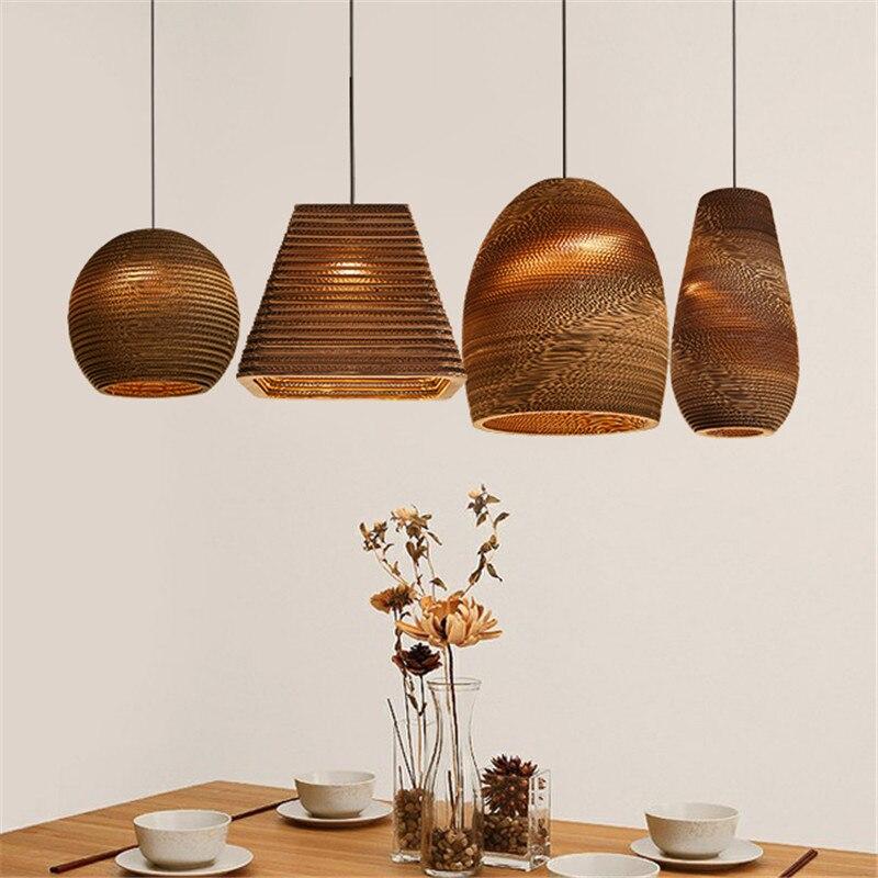 Wood Paper Honeycomb Pendant Lights Carton Bird Cage E27 Hanging Lamp Loft New Fixture Suspension Light Home Lighting Clothing