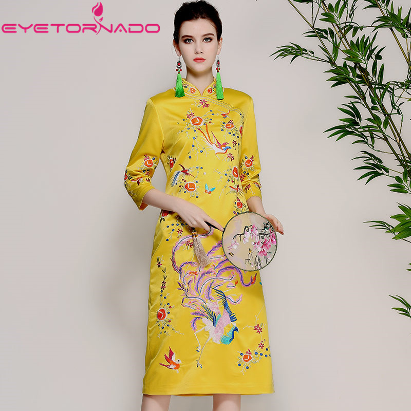 Chinese Traditional Flower Bird Embroidery Cheongsam Dress Casual Bodycon Work Office Midi Dresses Qipao Vestido E7889