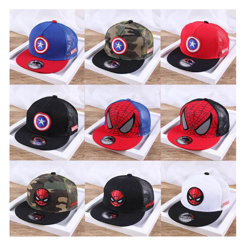 Doitbest Children Hip Hop   Baseball     Cap   Captain Spiderman Summer kids Sun Hat Boys Girls mesh snapback   Caps   for 2-9 years old