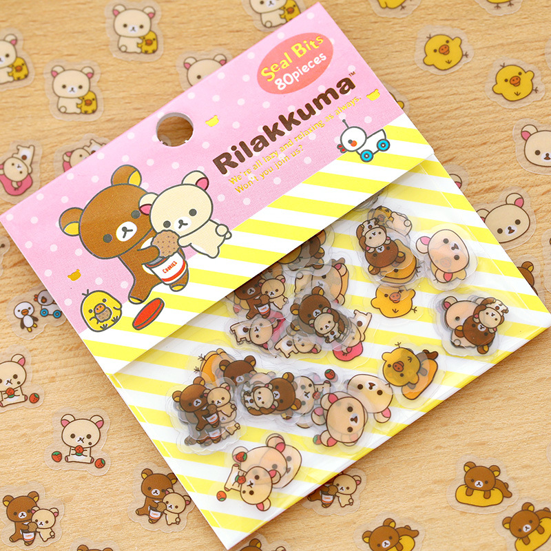 80pcs/lot DIY Cute Kawaii Transparent PVC Stickers Rilakkuma Sticker Pack For Home Decoration Photo Album Student 3450 70 pcs lot diy cute kawaii bear owl pvc decoration stickers cartoon dog cat sticky paper for photo album student 3332